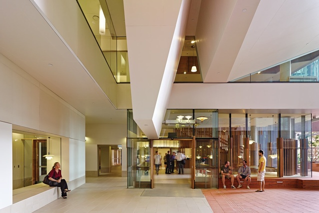 Atrium-level reception area.