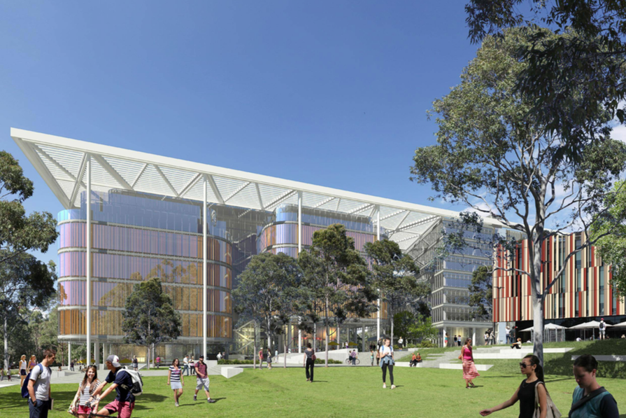 Sissons Architects and Kann Finch's design for the Macquarie University complex at 8-12 University Avenue.