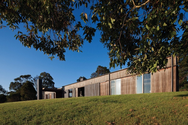 The rectilinear home, clad in spotted gum boards, hugs the contours of the site.