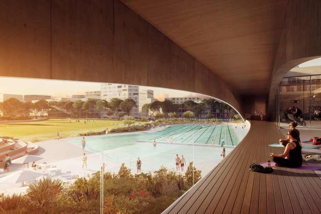 A pavilion housing a gymnasium and fitness studios hovers above the pools.
