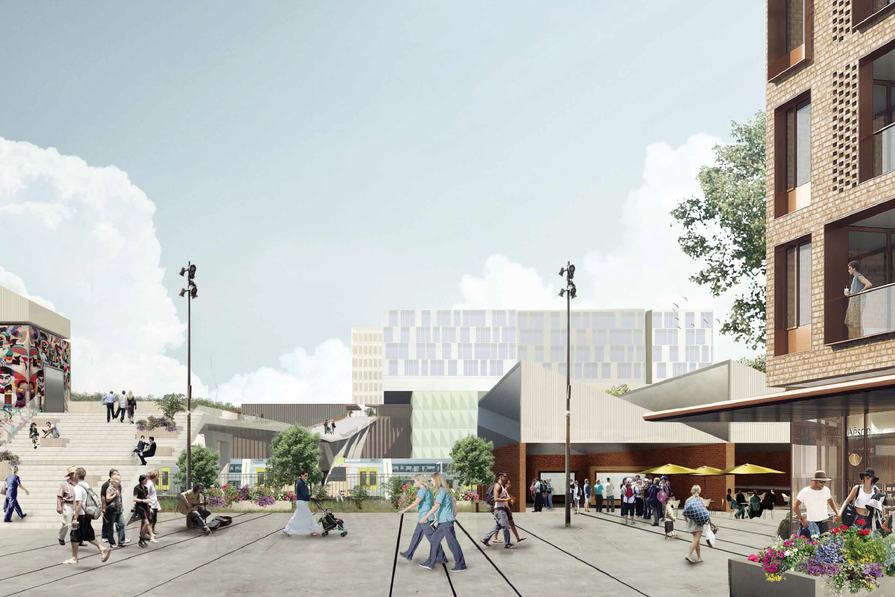 A new public space between Mann Street, the railway line and the hospital in Gosford's north.