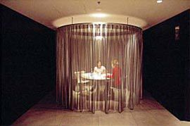 "The ""hospital curtain"" meeting room.             Images: Anthony Browell"