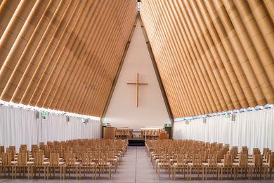 Cardboard Cathedral by Shigeru Ban Architects (Christchurch, New Zealand, 2013).
