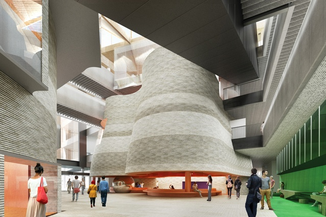 An internal visualization of the Learning and Teaching Building by John Wardle Architects, currently being constructed at Monash University's Clayton campus, depicting a key atrium.