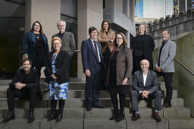 The NSW Architects Registration Board. L-R: Prof Gerard Reinmuth, Melonie Bayl-smith, Sue Weatherley, Nigel Bell, Peter Poulet, Milly Brigden, Dr Deborah Dearing, Sarah Marshall, Shaun Carter, Peter Salhani (Absent: Matt Curll)