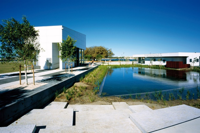 The parkland's pavilions house a wide range of functions, including a gallery, an outdoor performance stage and council offices.