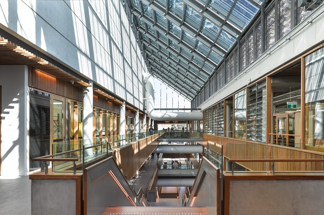 Operable louvres in the atrium assisting in creating cross-ventilation throughout the building.
