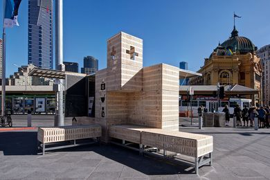 Dropbox by SJB is designed to offer shelter, seating and signage.