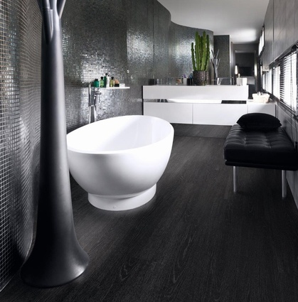 A bathroom featuring Jet Black Ash flooring from the Affinity Range.