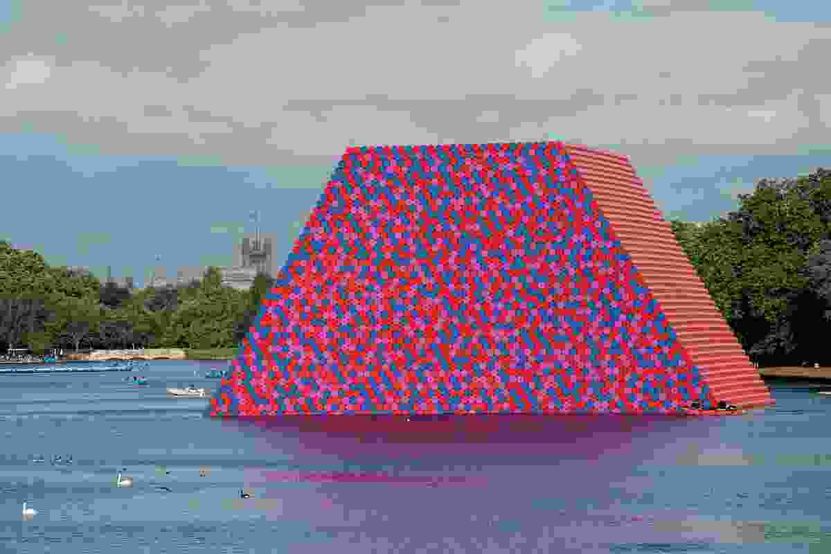 The London Mastaba – a floating platform of wrapped oil barrels, moored on the Serpentine Lake, Hyde Park, 2016–2018 – is the first installation in London by Christo and Jeanne-Claude.