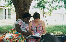 19 Deborah Fisher and Simon Scally conducting design consultation at Daguragu with Connie Ngarmeiye