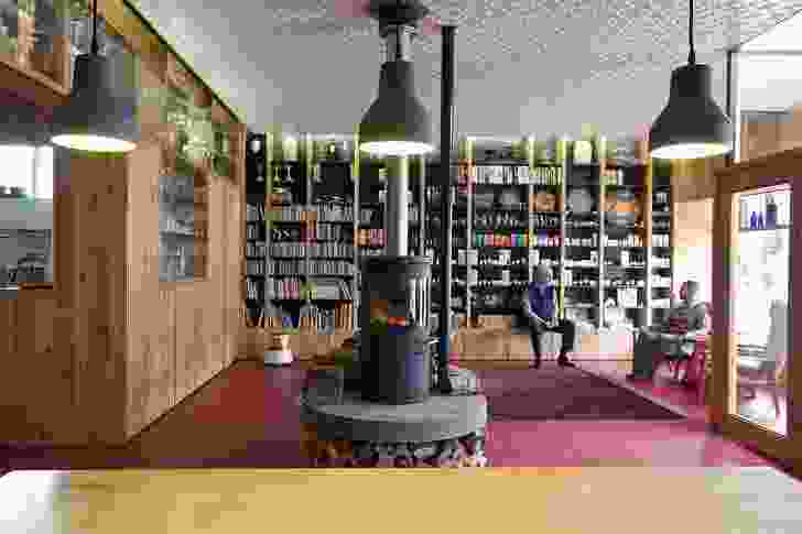 The relaxed bookshop at the front of the store provides a place for locals to share the space.