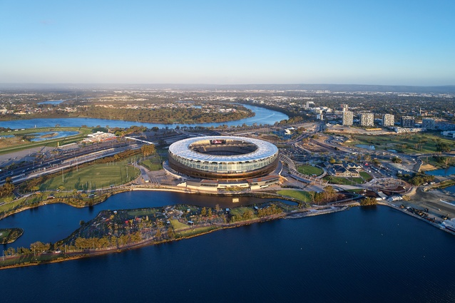 The stadium and its surrounding precinct sit to the east of Perth's CBD and are flanked on three sides by the Swan River.