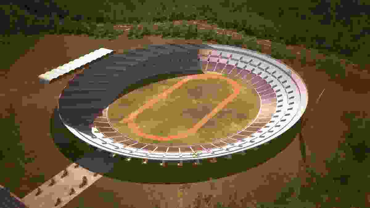 Olympic Stadium (competition entry 1952) in Melbourne by Harry Seidler. Digital reconstruction by Daniel Giuffre and Paul Sawyer.