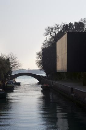"The close ""black box"" of the Denton Corker Marshall-designed pavilion."