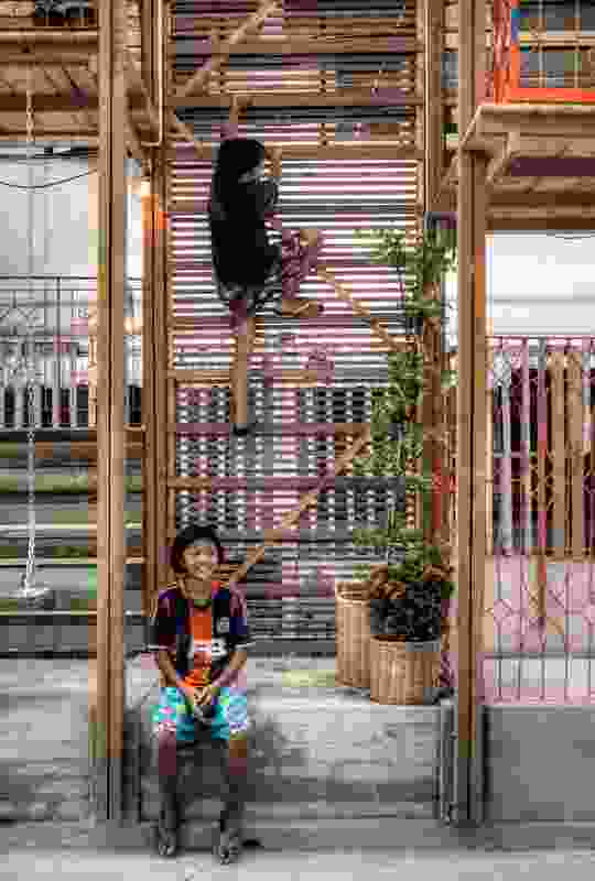 Klong Toey Community Lantern: Children can sit and watch a football game.