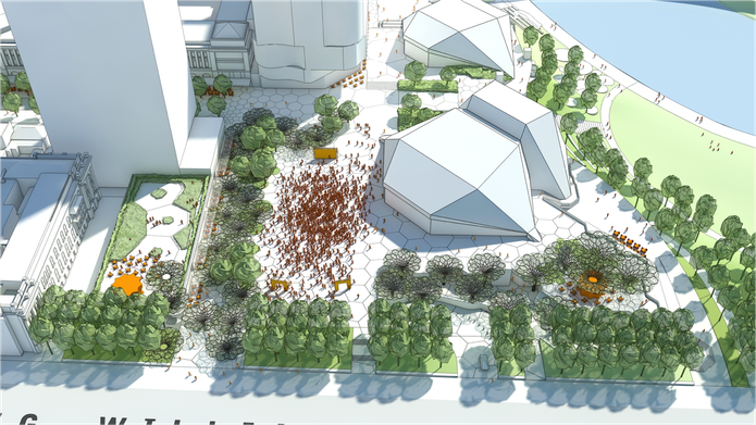 The proposed new Adelaide Festival Plaza will be lined with green edges along its southern and eastern boundaries.