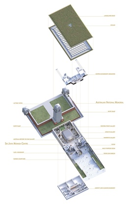 An exploded axonometric diagram of the proposed centre.