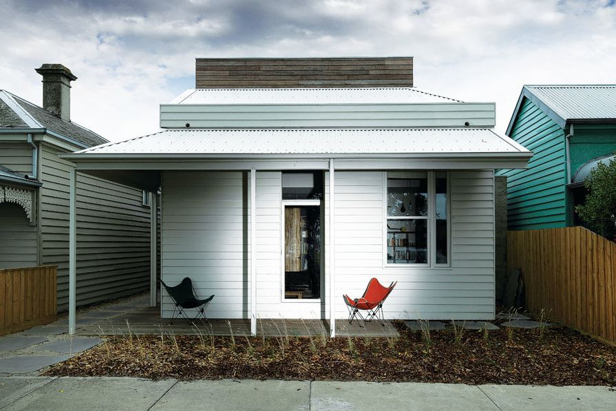 Faux finish: the Victorian-style weatherboard facade is new – a council requirement, despite the existing building being 1980s brick-veneer.