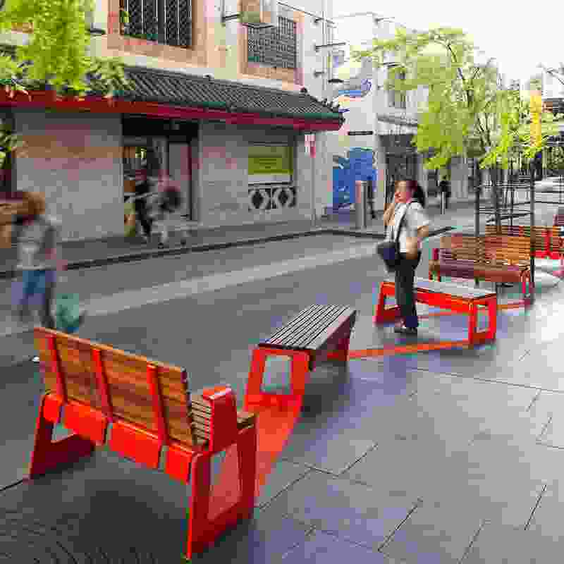 New street furniture and paving in Little Hay Street, Chinatown, Sydney.