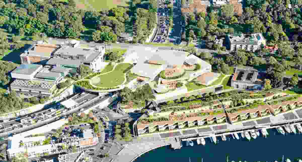 Aerial view of the revised design for the Sydney Modern project by SANAA.