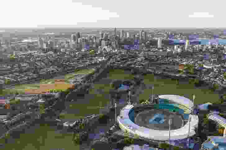 Bates Smart's concept proposes to return the site of Sydney Football Stadium at Moore Park back to park land.
