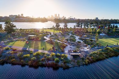A subtly contoured parkland and three-hectare playground have been created to the east of Optus Stadium, around an existing river-fed lake.